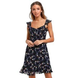 Lulu's Viola Blue Floral Print Ruffle Dress S